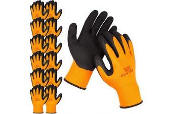 (X-Large, Orange / Black (Premium)) - ACKTRA Premium Coated Nylon Safety WORK GLOVES 12 Pairs, Knit Wrist Cuff, for Gardening and General Purpose, for Men & Women, WG009 Orange Polyester, Black Latex, X-Large