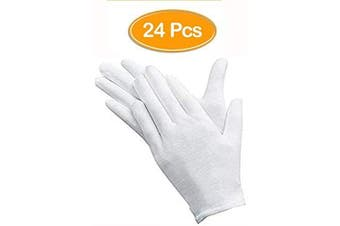 (Color 1) - 24Pcs White Gloves, ANDSTON 12 Pairs Soft Cotton Gloves, Coin Jewellery Silver Inspection Gloves, Stretchable Lining Glove, Medium Size