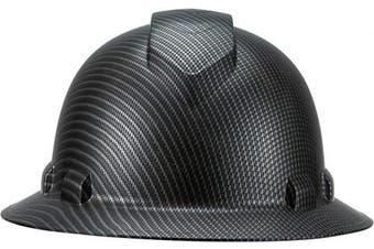 (Dark Black Carbon Fiber) - Full Brim Pyramex Hard Hat, Dark Black Carbon Fibre Design Safety Helmet 6pt, By Acerpal