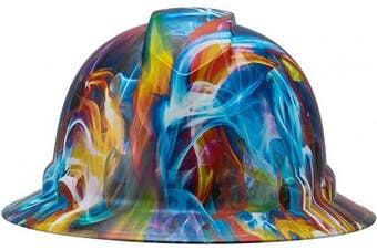 (Psychedelic Trippy Soap Art) - Full Brim Pyramex Hard Hat, Psychedelic Trippy Soap Art Design Safety Helmet 4pt, By Acerpal