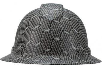 (Heptagon Carbon fiber) - Full Brim Pyramex Hard Hat, Hexagon Carbon fibre Design Safety Helmet 4pt, By Acerpal