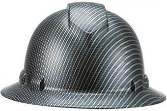(Black Carbon Fiber) - Full Brim Pyramex Hard Hat, Black Carbon Fibre Design Safety Helmet 4pt, By Acerpal