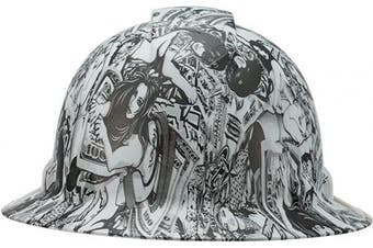 (Girls Money Game Tattoo) - Cool Full Brim Pyramex Hard Hat, Lady Luck Design Safety Helmet 4pt, by AcerPal
