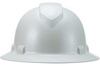 (White Matte Carbon Fiber) - Full Brim Pyramex Hard Hat, White Matte Carbon Fibre Design Safety Helmet 4pt, By Acerpal