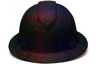 (Rainbow Carbon Fiber) - Full Brim Pyramex Hard Hat, Rainbow Carbon Fibre Design Safety Helmet 4pt, By Acerpal