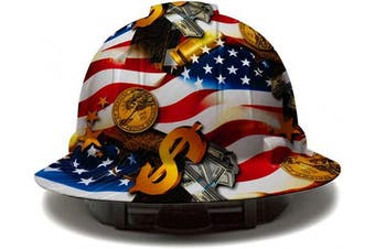(USA Flag Money) - Cool Full Brim Pyramex Hard Hat, Hydrodipped American Flag Money Design Safety Helmet 4pt, by AcerPal