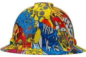 (Skull Graffiti Sticker Bomb) - Full Brim Pyramex Hard Hat, Skull Graffiti Sticker Bomb Design Safety Helmet 4pt, By Acerpal