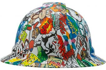 (Animated Cartoons) - Full Brim Pyramex Hard Hat, Animated Cartoons Design Safety Helmet 4pt, By Acerpal