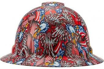 (American Flag and Bald Eagle Design) - Full Brim Pyramex Hard Hat, American Flag And Bald Eagle Design Safety Helmet 4Pt, By Acerpal