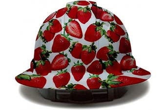 (Strawberries) - Cool Full Brim Pyramex Hard Hat, Strawberries Design Safety Helmet 4pt, by AcerPal