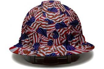 (American Flag) - Full Brim Pyramex Hard Hat, American Flag Design Safety Helmet 4Pt, By Acerpal