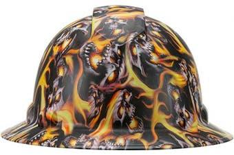 (Burning Skull) - Full Brim Pyramex Hard Hat, Burning Skull Design Safety Helmet 4pt, By Acerpal