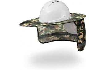 (1, Camouflage) - Hard Hat Sun Shade,Full Brim Mesh Neck Sun Shield Protector with High Visibility, Reflective, Adhesive Hook by Shellvcase (1, Camouflage)