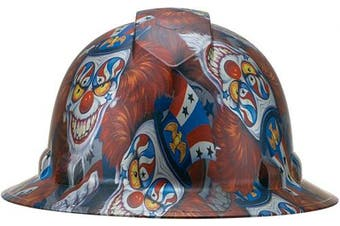 (Dark Patriotic Evil Clown) - Full Brim Pyramex Hard Hat, Dark Patriotic Evil Clown Design Safety Helmet 6pt, By Acerpal