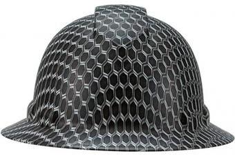 (Black Honeycomb) - Full Brim Pyramex Hard Hat, Black Honeycomb Design Safety Helmet 6pt, By Acerpal