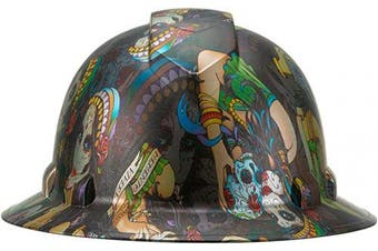 (Day of the Dead) - Full Brim Pyramex Hard Hat, Day of the Dead Design Safety Helmet 6pt, By Acerpal