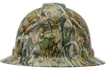 (Leaves Tree Camouflage) - Full Brim Pyramex Hard Hat, Leaves Tree Camouflage Design Safety Helmet 6pt, By Acerpal