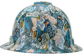 (US License Plates) - Full Brim Pyramex Hard Hat, US Licence Plates Design Safety Helmet 6pt, By Acerpal
