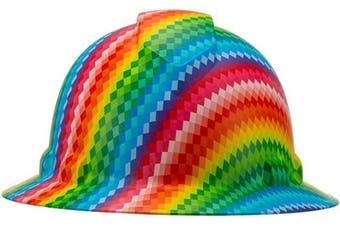 (Digi Rainbow Stripes) - Full Brim Pyramex Hard Hat, Digi Rainbow Stripes Design Safety Helmet 6pt, By Acerpal