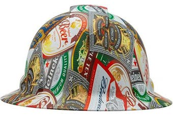 (Beer Sticker Bomb) - Full Brim Pyramex Hard Hat, Beer Sticker Bomb Design Safety Helmet 6pt, By Acerpal