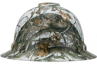 (6 Point Suspension, Camo Wood in the Winter) - Pyramex Full Brim Hard Hat with Camo Wood in the Winter Design, 6 Point Suspension, by Acerpal