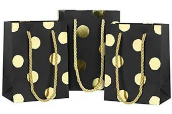 (11 x 6.5 x 14cm, Black With Gold Polka Dots) - FiveSeasonStuff Pack of 12 Small Paper Carrier Bags with Reinforced Ribbon Handles (Black|Metallic Like Golden Polka Dots, 11 x 6.5 x 14cm)