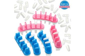 6 Pieces False Nail Practise Display Stands Plastic Nail Tip Practise Display Stand Holder with 120 Pieces Practise Acrylic False Nails, Nail Art Training Manicure Tools for Home Salon Supplies