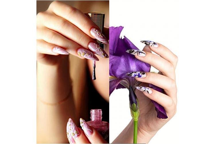 HuiYouHui 600 pcs Nails Ballerina Fake Nail Full Cover Acrylic False Nails Design Natural Artificial Nails for Nail Salons or DIY Nail Art at Home Transparent Colour(10 Sizes)