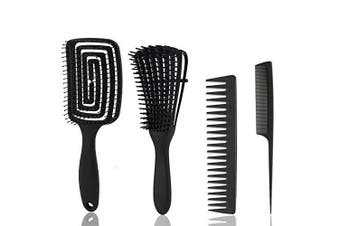 (Black) - 4 Pieces Detangling Brush and Hair Comb Set Kinky Wavy Curly Coily Wet Dry Oil Thick Long Natural Hair,Knots Detangler Easy to Clean (Black)