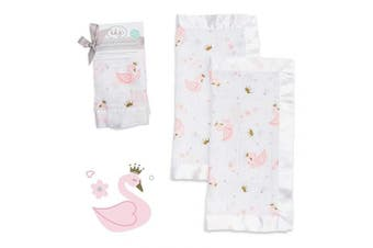 (Swan) - lulujo Baby Security Lovie Blankets| Unisex Softest Breathable Cotton Muslin Security Blanket with Silky Satin Trim| Neutral Comforting Blanket for Girls & Boys | 41cm by 41cm | Swan