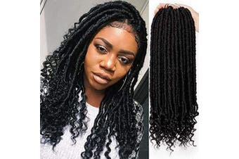 (41cm , 1B#) - AISI BEAUTY Faux Locs Crochet Hair 41cm Goddess Locs Crochet Hair Pre-Looped Hair Extension with Curly Ends Synthetic Hair Extensions for Black Women (1B#)