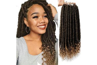 (41cm , T27) - AISI BEAUTY Faux Locs Crochet Hair 41cm Goddess Locs Crochet Hair Pre-Looped Hair Extension with Curly Ends Synthetic Hair Extensions for Black Women (1B-27#)