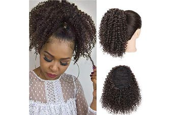 (25cm , 4#) - AISI BEAUTY Short Afro Curly Ponytail Synthetic Ponytail Hair Piece Drawstring Ponytail Extension for Natural Hair for Women(25cm 4#)