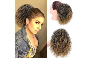 (25cm , 1B/27#) - AISI BEAUTY Afro Puff Drawstring Ponytail for Black Women Ponytail Extension Drawstring Curly Ponytail Hair Piece Ombre Blonde for Women(25cm 1B/27)