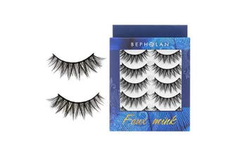 (XMZ115) - BEPHOLAN 5 Pairs False Eyelashes Synthetic Fibre Material | Natural Flare Look | Cruelty-Free and Handmade | Easy to Apply | 3D Faux Mink Lashes | XMZ115