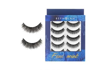 (XMZ113) - BEPHOLAN 5 Pairs False Eyelashes Synthetic Fibre Material | Natural Round Look | Cruelty-Free and Handmade | Easy to Apply | 3D Faux Mink Lashes | XMZ113