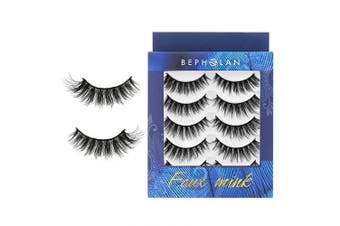 (XMZ114) - BEPHOLAN 5 Pairs False Eyelashes | Synthetic Fibre Material l Dramatic Flare Look | Long and Fluffy | Cruelty-Free and Handmade | 3D Faux Mink Lashes | XMZ114