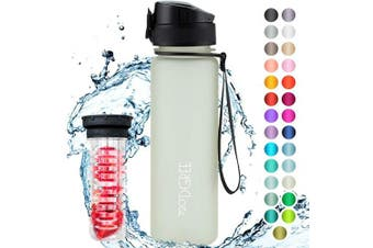 "(650ml, 27 Champagne | Softtouch) - 720°DGREE Water Bottle ""uberBottle"" +Fruit-Infuser - 350ml, 500ml, 650ml, 1L - BPA-Free Tritan, Leakproof, Reusable - Sports, Drinking Bottle for Gym, Fitness, Kids, Fitness, Cycling, School & Office"