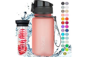 "(650ml, 14 Flamingo Pink | Softtouch) - 720°DGREE Water Bottle ""uberBottle"" +Fruit-Infuser - 350ml, 500ml, 650ml, 1L - BPA-Free Tritan, Leakproof, Reusable - Sports, Drinking Bottle for Gym, Fitness, Kids, Fitness, Cycling, School & Office"