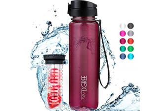 "(1000ml, 36 Lavish Plum | Crystalclear) - 720°DGREE Water Bottle ""uberBottle"" +Fruit-Infuser - 350ml, 500ml, 650ml, 1L - BPA-Free Tritan, Leakproof, Reusable - Sports, Drinking Bottle for Gym, Fitness, Kids, Fitness, Cycling, School & Office"