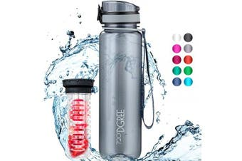 "(650ml, 38 Stone Gray | Crystalclear) - 720°DGREE Water Bottle ""uberBottle"" +Fruit-Infuser - 350ml, 500ml, 650ml, 1L - BPA-Free Tritan, Leakproof, Reusable - Sports, Drinking Bottle for Gym, Fitness, Kids, Fitness, Cycling, School & Office"