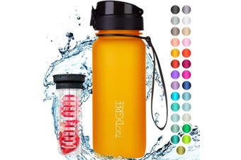 "(650ml, 12 Honey Yellow | Softtouch) - 720°DGREE Water Bottle ""uberBottle"" +Fruit-Infuser - 350ml, 500ml, 650ml, 1L - BPA-Free Tritan, Leakproof, Reusable - Sports, Drinking Bottle for Gym, Fitness, Kids, Fitness, Cycling, School & Office"