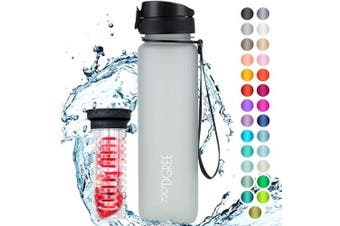 "(650ml, 25 Light Gray | Softtouch) - 720°DGREE Water Bottle ""uberBottle"" +Fruit-Infuser - 350ml, 500ml, 650ml, 1L - BPA-Free Tritan, Leakproof, Reusable - Sports, Drinking Bottle for Gym, Fitness, Kids, Fitness, Cycling, School & Office"