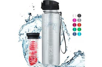"(500ml, 37 Snow White | Crystalclear) - 720°DGREE Water Bottle ""uberBottle"" +Fruit-Infuser - 350ml, 500ml, 650ml, 1L - BPA-Free Tritan, Leakproof, Reusable - Sports, Drinking Bottle for Gym, Fitness, Kids, Fitness, Cycling, School & Office"
