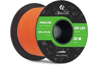 (Orange, 50 Metres) - Abma Cord 2mm Paracord 1 Inner Strand 100% Nylon Parachute Cord - 45kg Breaking Strength
