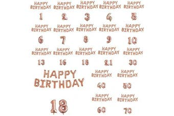 (10th Birthday - Happy Birthday + Numbers) - Blue Planet Fancy Dress Rose Gold 41cm Foil Happy Birthday Balloons and 80cm Numbers Set (10th Birthday - Happy Birthday + Numbers)