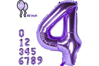 "(4) - CHANGZHONG 100cm 100 cm 0"" - 23cm Purple Number Foil Balloon Helium Number Balloon Giant Number Party Wedding Children's Birthday 4"