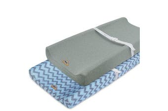 (blue) - Super Soft and Stretchy Changing Pad Cover 2pk by BlueSnaill (Blue)