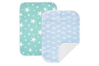 (L :60cm  x 70cm , Sky Blue Set,2 Units) - PEKITAS 2 Pack Waterproof Nappy Changing Pads Travel Friendly Super Soft Fabric Size 60cm x 70cm (Large,1-3 Year),Sky Blue Series