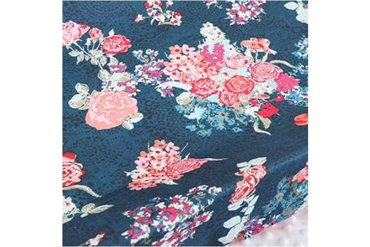 (Coral Navy Floral) - Sahaler Boho Floral Baby Minky Blanket Baby Girl Crib Comforter Toddle Quilt 90cm x 110cm (Coral Navy Floral)